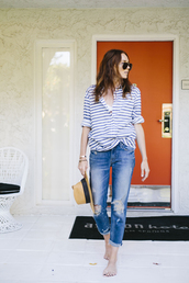 could i have that,blogger,jeans,jewels,sunglasses,striped top,ripped jeans,hat