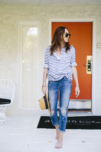 could i have that blogger jeans jewels sunglasses striped top ripped jeans hat