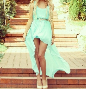 dress blue dress blue high low high-low dresses summer outfits belt dress turquoise turquoise dress
