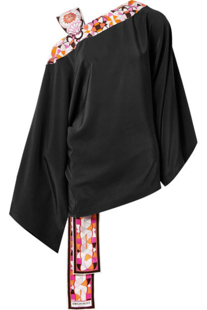 Emilio Pucci blouse black silk satin top