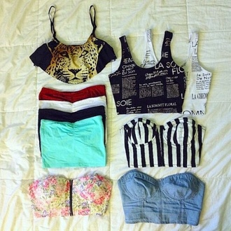 shirt crop tops strapless bostier bustier bustier top stripes leopard print jaguar los angeles