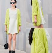 sweater,mixmoss.com,oversized cardigan,cardigan,green dress,white dress,white,clothes