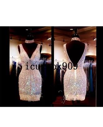 dress embellished prom cocktail dress short choker necklace