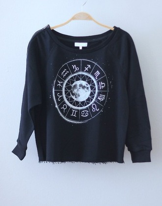 sweater pull sweatshort astrology black