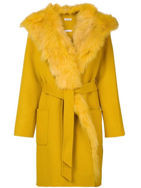P.A.R.O.S.H. coat fur fox women wool yellow orange