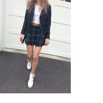 skirt tartan green leather jacket white top