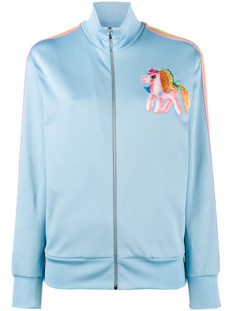 Moschino - My Little Pony embroidered track top - women - Cotton/Polyamide/Polyester - 40, Blue, Cotton/Polyamide/Polyester