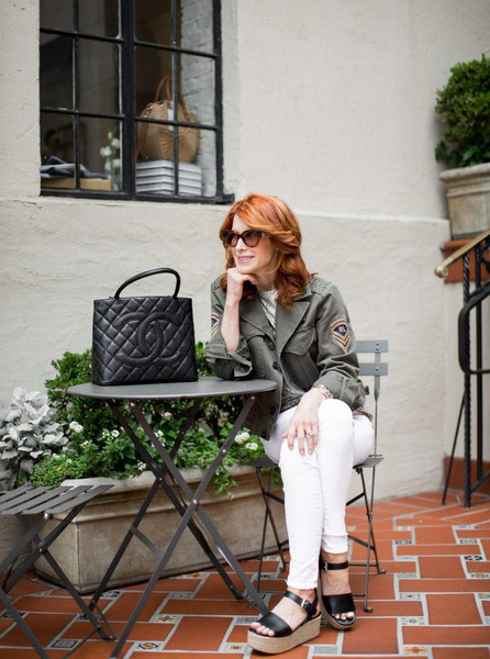 themiddlepage blogger jacket top jeans shoes bag chanel bag wedges