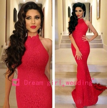New Arrival 2014 Sexy Elegant High Neck Mermaid Red Prom Dresses Lace Women Evening Dresses Long With Train Free Shipping-in Prom Dresses from Apparel & Accessories on Aliexpress.com