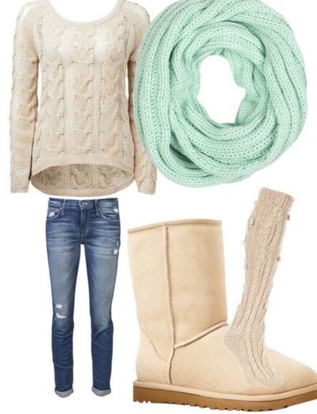 beige shoes winter boots sweater winter sweater blue scarf knitted sweater beige sweater