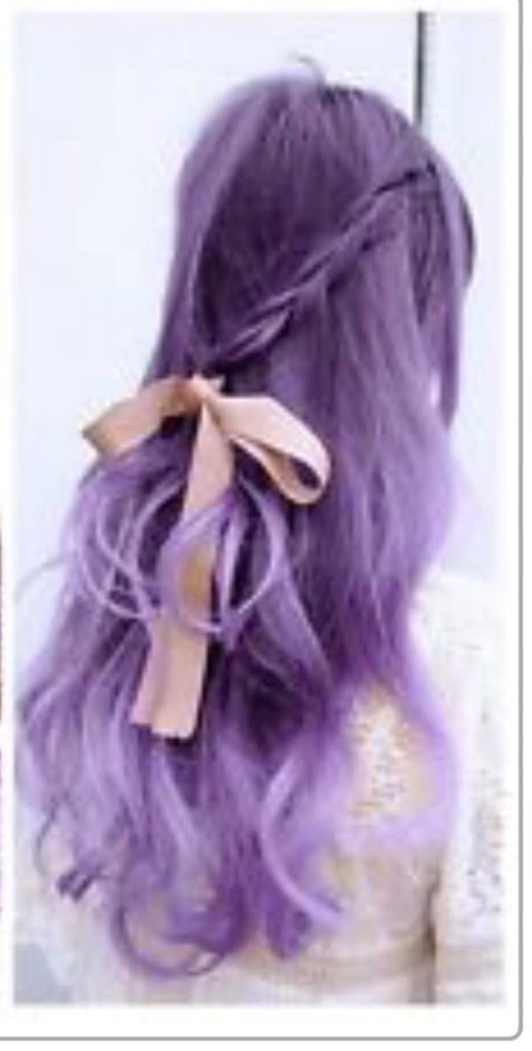 hat wig lavender ombré jacket gloves hair accessory wavy hair romantic bow hair braid dusty pink wedding hairstyles