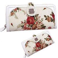 Women's Retro Floral Canvas Card Zipper Purse Anna Sui ...