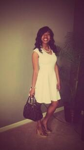 dress,white dress,curled hair,wedges,coach bag,natural hair