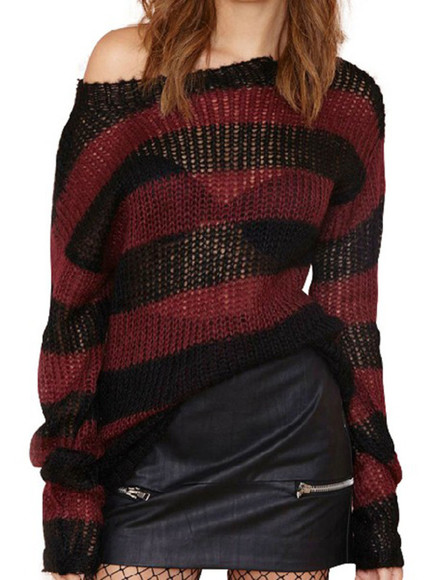sheer burgundy stripes hollow loose knitwear pullover casual sweater long sleeves