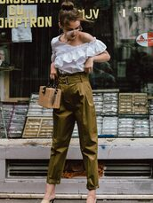top,ruffled top,tumblr,white top,ruffle,pants,khaki,khaki pants,bag,boxed bag,basket bag,sunglasses