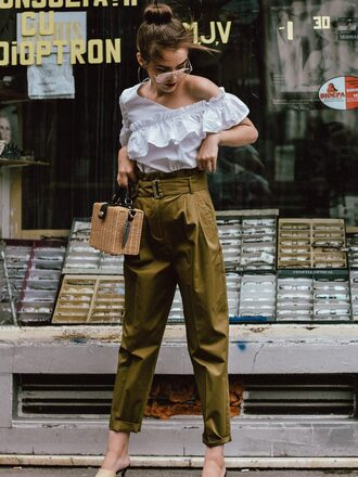 top ruffled top tumblr white top ruffle pants khaki khaki pants bag boxed bag basket bag sunglasses