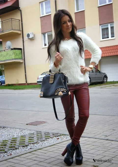 Wine Red Low Waist Skinny Elasic PU Leather Leggings - Sheinside.com