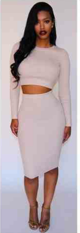 anycolour 2piece dress sexy dress kneelengthdress long sleeves stomach out