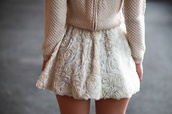 skirt,rose skirt,beautiful,flowers,white flowers,pretty,elegant,classy,sweater,pink,pink sweater,knitted sweater,girly,cream,sweet,nice,shirt,rose skitt,white skirt,dress,cute dress,white,fashion,knitwear,flower print skater skirt,cute,skirt cute,tulle skirt,roses,white roses,textured,light pink,spring,pastel,floral skirt,vintage,beige,short skirt
