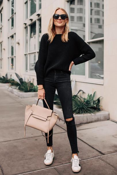 fashionjackson blogger sweater jeans shoes sunglasses bag black sweater fall outfits nude bag black jeans