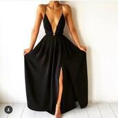 dress,black dress,black,sexy dress,long dress,plunge v neck,slit dress,navy,maxi,formal