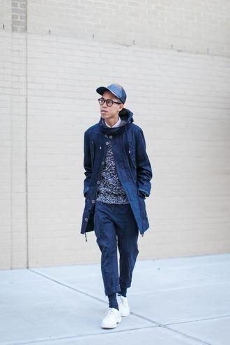 closet freaks blogger cap menswear parka jacket sweater pants shoes gloves