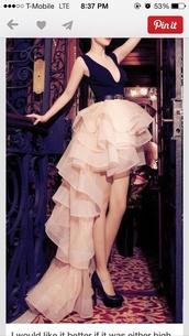 dress,belted dress,ruffle,beige and navy blue,v neck dress,high low dress