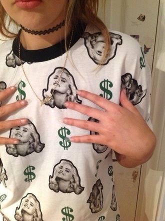 t-shirt money gray top possibly idk money print luxury marilyn monroe jewels