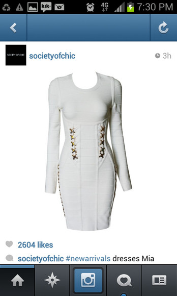 dress white long sleeved white dress long sleeved dress long sleeve gold gold studs bodycon