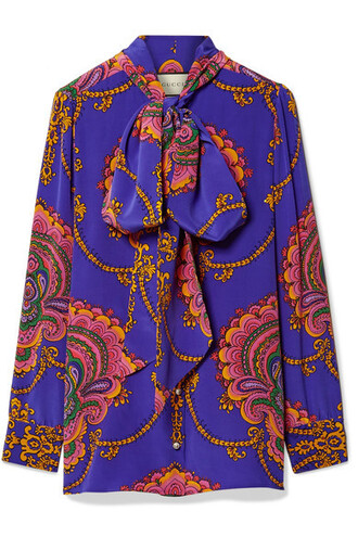 blouse bow silk purple top
