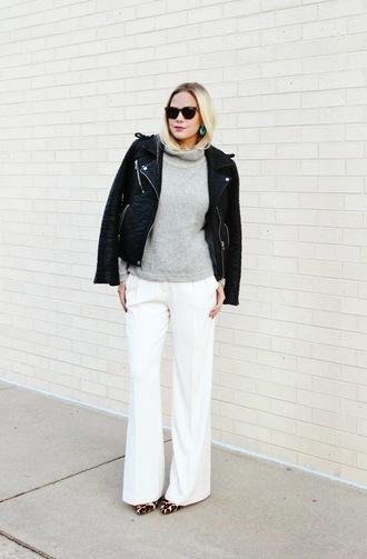 jacket perfecto jewels sunglasses pants blogger leopard print b soup flare