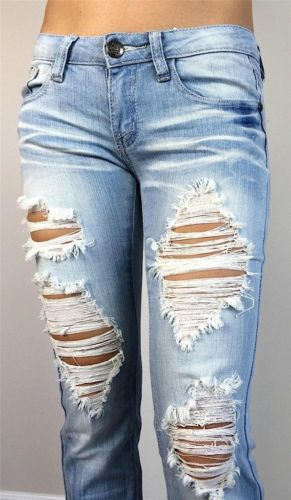 New Machine Jeans Destroyed Ripped Distressed Womens Skinny Slim Light Blue | eBay
