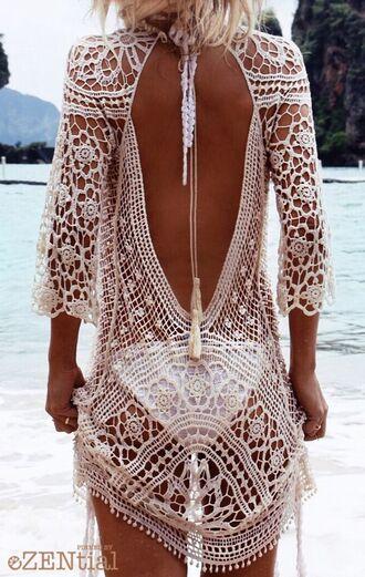 shirt crochet white bikini beach cover up swimwear