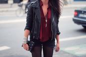jacket,black jacket,leather,pleather,tights,blouse,burgundy,leather jacket,shorts,clothes,zips,shirt