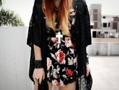 mini,print,floral,le happy,black dress,white dress,grey dress,red dress,brown dress,jewels,romper,dress,flowers,vintage,roses,black,red,white,cardigan,lace,crochet,jacket,shrug,kimono,floral dress,black kimono,indie,cute