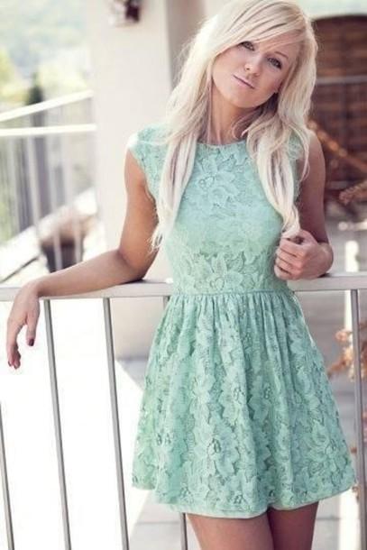 dress lace mint skater skirt clothes light blue mini dress blue green blue lace dress short dress blue dress