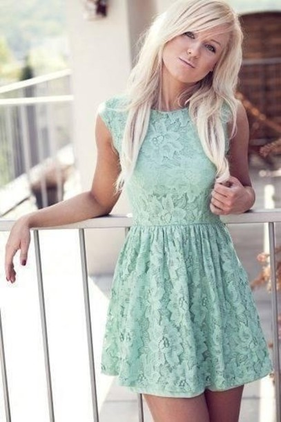 dress lace mint skater skirt clothes light blue mini dress cute dress