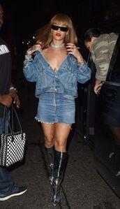 skirt,jacket,rihanna,denim jacket,denim,denim skirt,mini skirt,boots,metallic shoes,silver,sunglasses,shoes