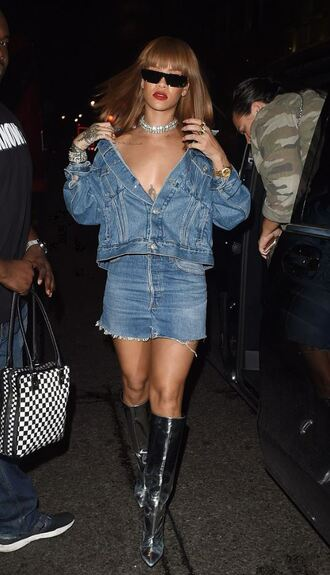 skirt jacket rihanna denim jacket denim denim skirt mini skirt boots metallic shoes silver sunglasses shoes