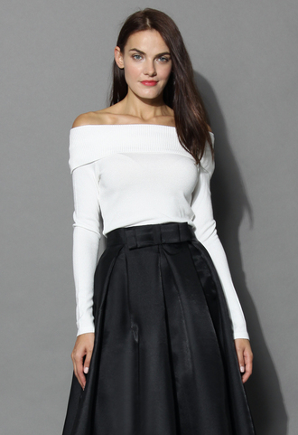 top grace off-shoulder cowl neck knit top in white chicwish white top off the shoulder