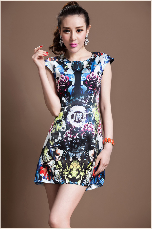 dress dress bqueen fashion girl chic retro print sleeveless american european elegant