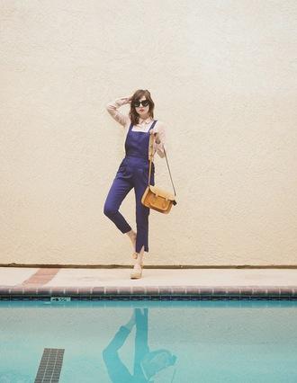 a fashion nerd blogger overalls satchel bag