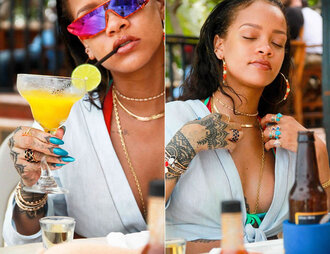 blouse top rihanna sunglasses instagram summer crop tops wrap top tie-front top blue top