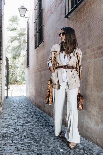 pants tumblr white pants wide-leg pants jacket nude jacket belt sunglasses bag work outfits