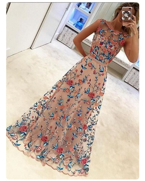 dress embroidered floral long dress prom dress