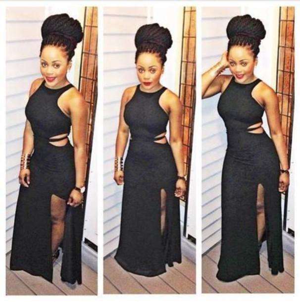 Black maxi dress with side slit