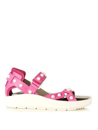 sandals platform sandals leather pink shoes