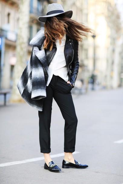 dulceida blogger hat loafers black pants winter coat coat jacket pants blouse shoes