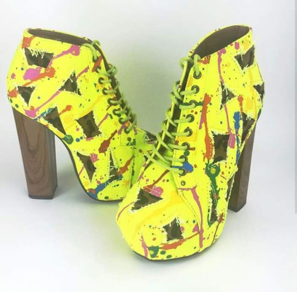 shoes ankle boots yellow high heels boots