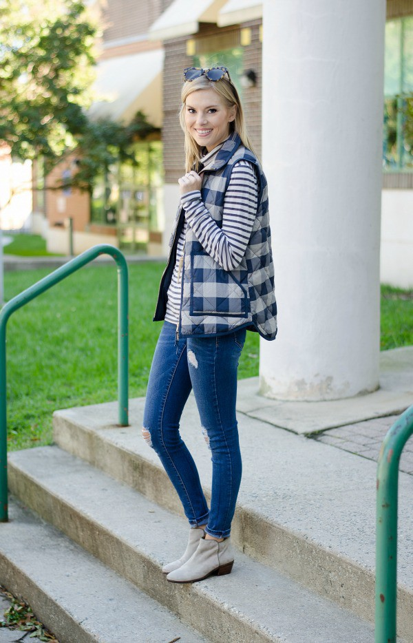 b547e7e6a618 life with emily blogger vest striped top quilted vest ankle boots grey boots  mid heel boots.